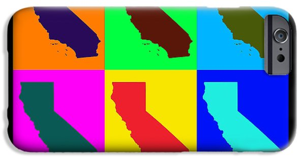 California State Map iPhone Cases - Colorful California State Pop Art Map iPhone Case by Keith Webber Jr