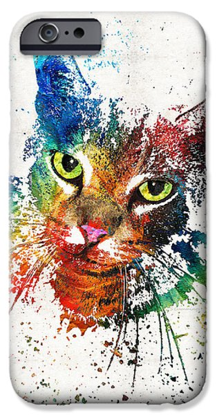 Honor iPhone Cases - Colorful Cat Art by Sharon Cummings iPhone Case by Sharon Cummings