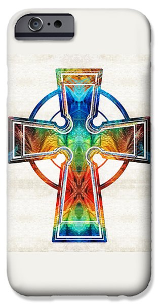Celtic iPhone Cases - Colorful Celtic Cross by Sharon Cummings iPhone Case by Sharon Cummings
