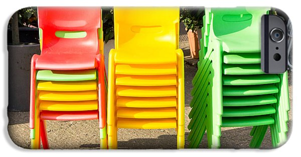 Elementary iPhone Cases - Colorful chairs iPhone Case by Tom Gowanlock