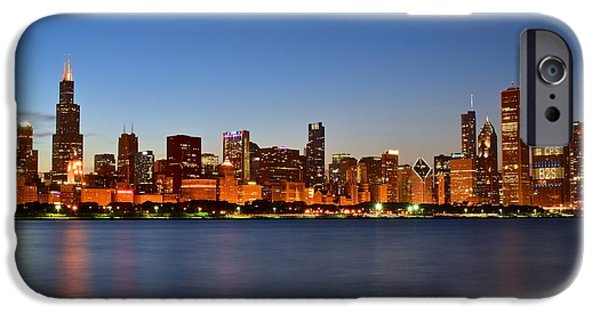 Wrigley iPhone Cases - Colorful Chicago  Cityscape iPhone Case by Frozen in Time Fine Art Photography