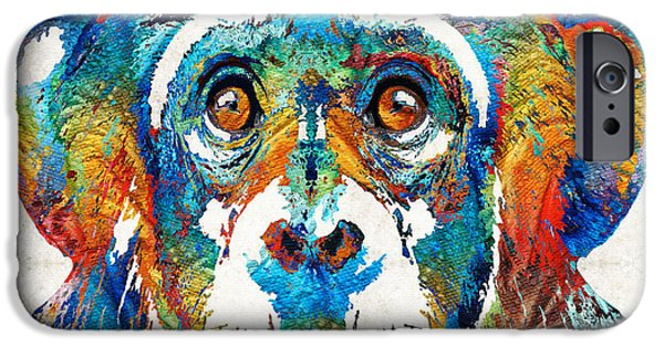 Zoo iPhone Cases - Colorful Chimp Art - Monkey Business - By Sharon Cummings iPhone Case by Sharon Cummings