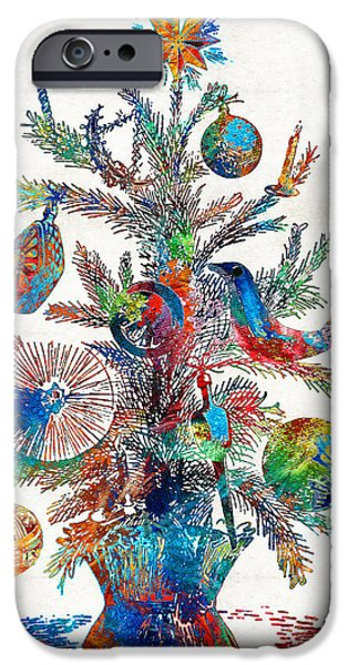 Abtracts iPhone Cases - Colorful Christmas Tree Art by Sharon Cummings iPhone Case by Sharon Cummings