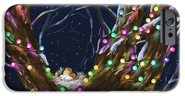 Christmas Card Art iPhone Cases - Colorful Christmas iPhone Case by Veronica Minozzi