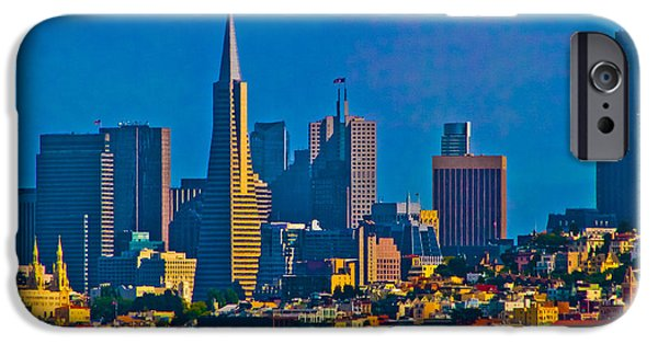 Skylines Glass Art iPhone Cases - Colorful City By The Bay iPhone Case by Mitch Shindelbower