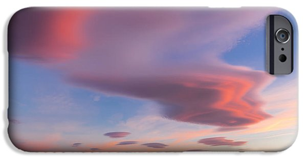 Turbulent Skies iPhone Cases - Colorful clouds over Wicklow Mountains iPhone Case by Semmick Photo