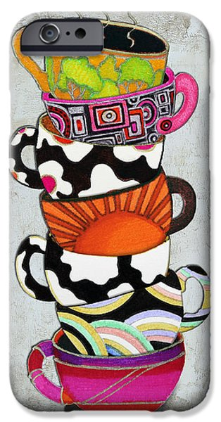 Colorful Coffee Cups Mugs Hot Cuppa Stacked I by Romi and Megan iPhone Case by Megan Duncanson