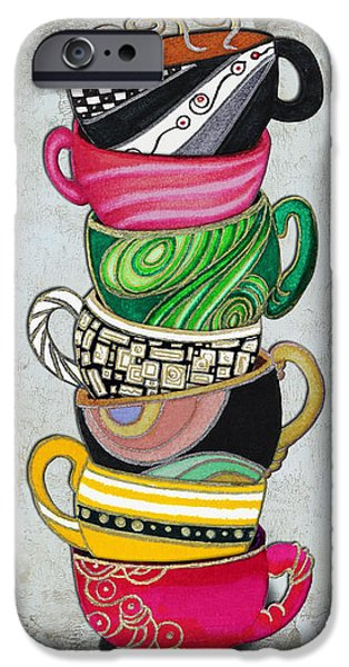 Colorful Coffee Cups Mugs Hot Cuppa Stacked II by Romi and Megan iPhone Case by Megan Duncanson