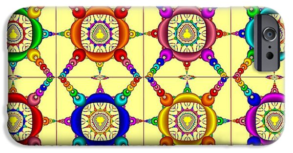 Prismatic Paintings iPhone Cases - Colorful Collage of Fractals iPhone Case by Bruce Nutting