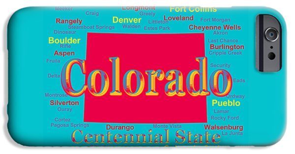 Fort Collins Digital Art iPhone Cases - Colorful Colorado State Pride Map Silhouette  iPhone Case by Keith Webber Jr