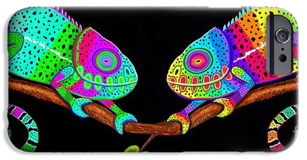 Chameleon iPhone Cases - Colorful Companions iPhone Case by Nick Gustafson