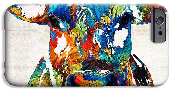 Kids Sports Art iPhone Cases - Colorful Cow Art - Mootown - By Sharon Cummings iPhone Case by Sharon Cummings