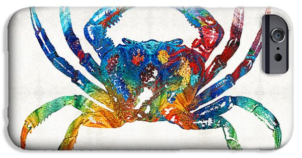 Creatures Paintings iPhone Cases - Colorful Crab Art by Sharon Cummings iPhone Case by Sharon Cummings