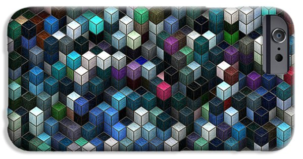Abstract Digital Art iPhone Cases - Colorful Cubes iPhone Case by Jack Zulli
