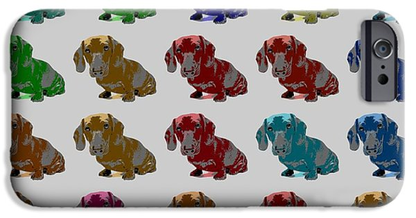 Cute Puppy iPhone Cases - Colorful Dachshund Pop Art Poster iPhone Case by Dan Sproul