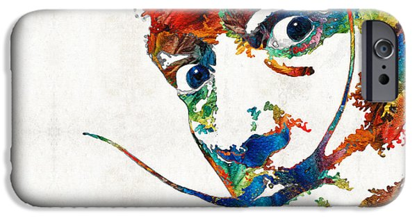 Mustaches iPhone Cases - Colorful Dali Art by Sharon Cummings iPhone Case by Sharon Cummings