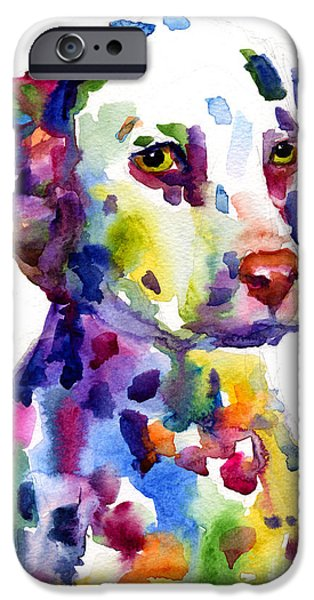 Horse Artist iPhone Cases - Colorful Dalmatian puppy dog portrait art iPhone Case by Svetlana Novikova