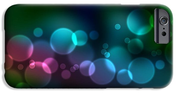 Beautiful Drawings iPhone Cases - Colorful defocused lights iPhone Case by Aged Pixel