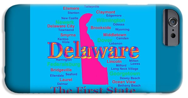 Lincoln iPhone Cases - Colorful Delaware State Pride Map Silhouette  iPhone Case by Keith Webber Jr