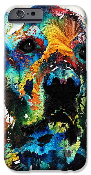 Lab Print iPhone Cases - Colorful Dog Art - Heart And Soul - By Sharon Cummings iPhone Case by Sharon Cummings