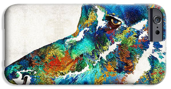 Weimaraners iPhone Cases - Colorful Dog Art - Loving Eyes - By Sharon Cummings  iPhone Case by Sharon Cummings
