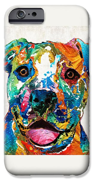 Dogs iPhone Cases - Colorful Dog Pit Bull Art - Happy - By Sharon Cummings iPhone Case by Sharon Cummings