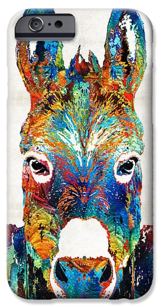 Cabin iPhone Cases - Colorful Donkey Art - Mr. Personality - By Sharon Cummings iPhone Case by Sharon Cummings