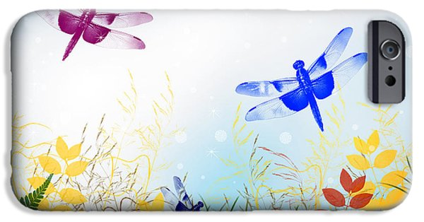 Wall Greeting Cards Digital iPhone Cases - Colorful Dragonflies iPhone Case by Christina Rollo