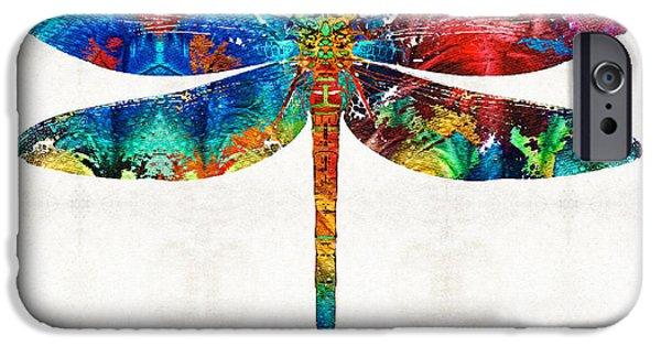 Dragonfly iPhone Cases - Colorful Dragonfly Art By Sharon Cummings iPhone Case by Sharon Cummings