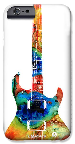 Player Mixed Media iPhone Cases - Colorful Electric Guitar 2 - Abstract Art By Sharon Cummings iPhone Case by Sharon Cummings