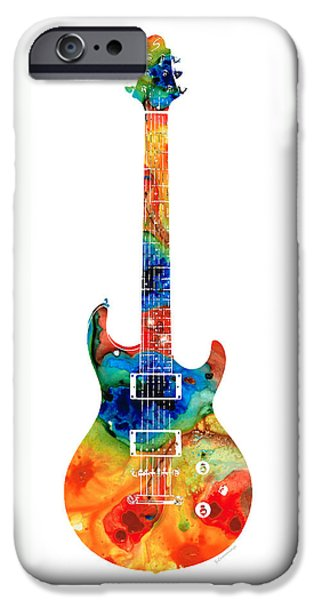 Man Cave Mixed Media iPhone Cases - Colorful Electric Guitar 2 - Abstract Art By Sharon Cummings iPhone Case by Sharon Cummings