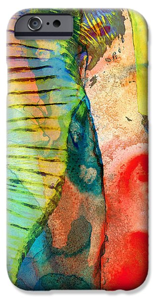 Elephants Mixed Media iPhone Cases - Colorful Elephant Art By Sharon Cummings iPhone Case by Sharon Cummings