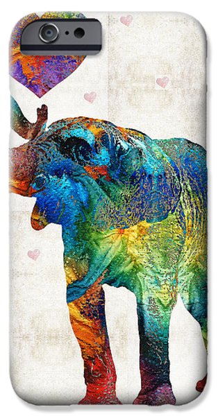 Safari Prints iPhone Cases - Colorful Elephant Art - Elovephant - By Sharon Cummings iPhone Case by Sharon Cummings