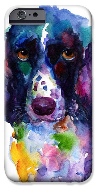 Painted Paintings iPhone Cases - Colorful English Springer Setter Spaniel dog portrait art iPhone Case by Svetlana Novikova