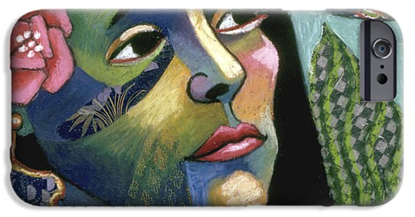 Thinking Pastels iPhone Cases - colorful expressionist portrait art - Tropical Intrusion iPhone Case by Sharon Hudson