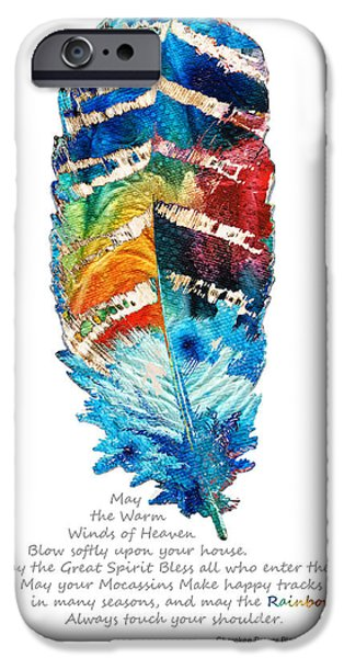 Wisdom iPhone Cases - Colorful Feather Art - Cherokee Blessing - By Sharon Cummings iPhone Case by Sharon Cummings