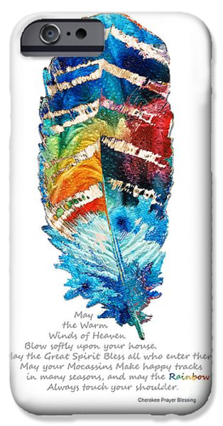 Blessings iPhone Cases - Colorful Feather Art - Cherokee Blessing - By Sharon Cummings iPhone Case by Sharon Cummings