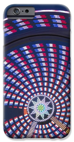 Independance Day iPhone Cases - Colorful Spinning Ferris Wheel Close-up iPhone Case by John Franco