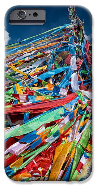 Tibetan Buddhism iPhone Cases - Colorful Flags iPhone Case by James Wheeler