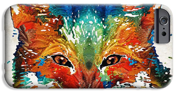 Wild Animals iPhone Cases - Colorful Fox Art - Foxi - By Sharon Cummings iPhone Case by Sharon Cummings