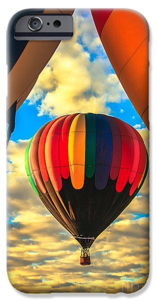 Colorado River Crossing iPhone Cases - Colorful Framed Hot Air Balloon iPhone Case by Robert Bales