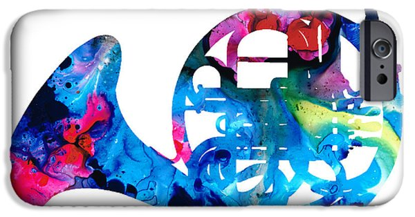 Marching Band iPhone Cases - Colorful French Horn 2 - Cool Colors Abstract Art Sharon Cummings iPhone Case by Sharon Cummings