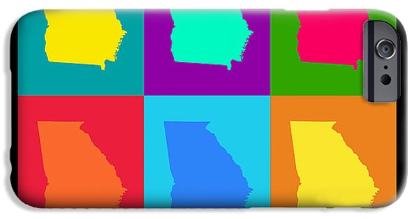 Georgia iPhone Cases - Colorful Georgia State Pop Art Map iPhone Case by Keith Webber Jr