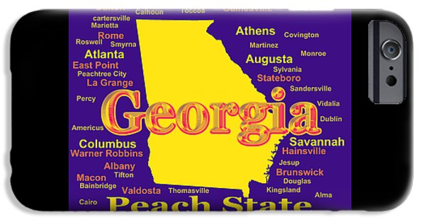 Augusta iPhone Cases - Colorful Georgia State Pride Map Silhouette  iPhone Case by Keith Webber Jr