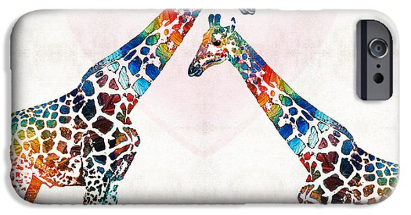 Safari Prints iPhone Cases - Colorful Giraffe Art - Ive Got Your Back - By Sharon Cummings iPhone Case by Sharon Cummings