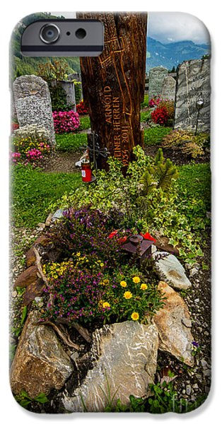 Headstones iPhone Cases - Colorful Gravestone - Kander Valley - Switzerland iPhone Case by Gary Whitton