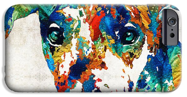Black Dog iPhone Cases - Colorful Great Dane Art Dog By Sharon Cummings iPhone Case by Sharon Cummings