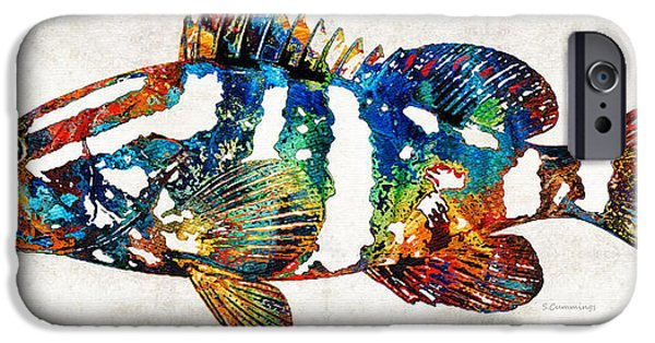Clearwater iPhone Cases - Colorful Grouper 2 Art Fish by Sharon Cummings iPhone Case by Sharon Cummings