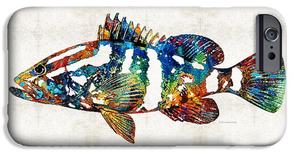 Recently Sold -  - Red Abstract iPhone Cases - Colorful Grouper 2 Art Fish by Sharon Cummings iPhone Case by Sharon Cummings