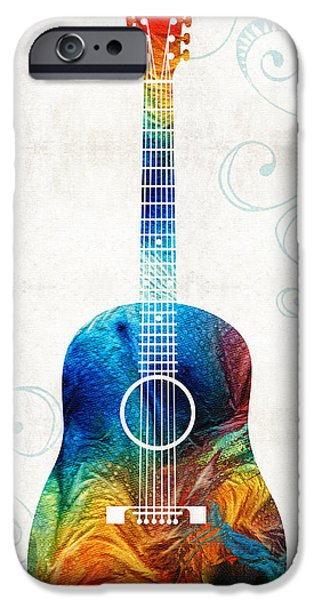Online-art Paintings iPhone Cases - Colorful Guitar Art by Sharon Cummings iPhone Case by Sharon Cummings